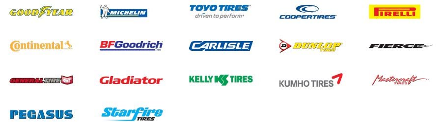 Good Year, Michelin, Tovo Tires, Cooper Tires, Pirelli, Continental, BF Goodrich, Carlisle, Dunlop, Firece, General Tire, Gladiator, Kelly Tires, Kumho Tires, Pegasus, Starfire and Mastercraft.
